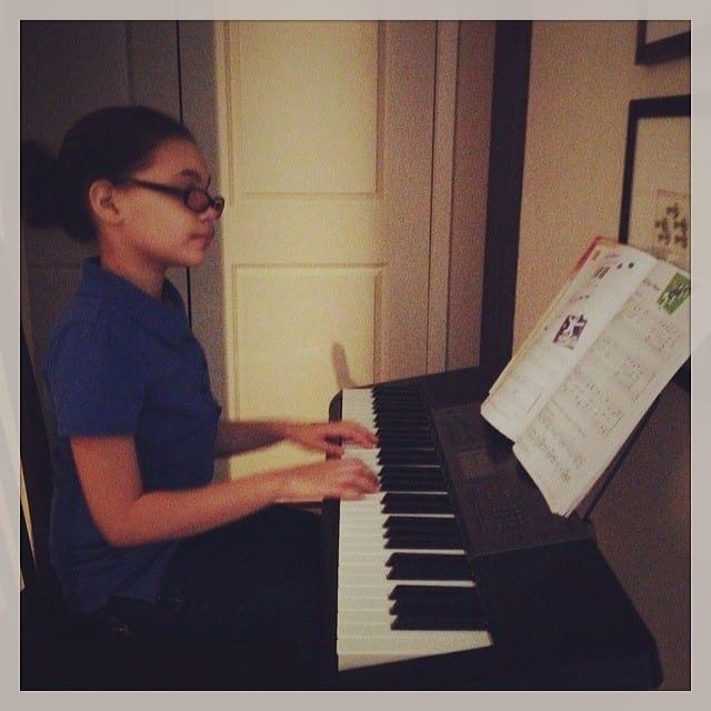 playing piano homeschooling