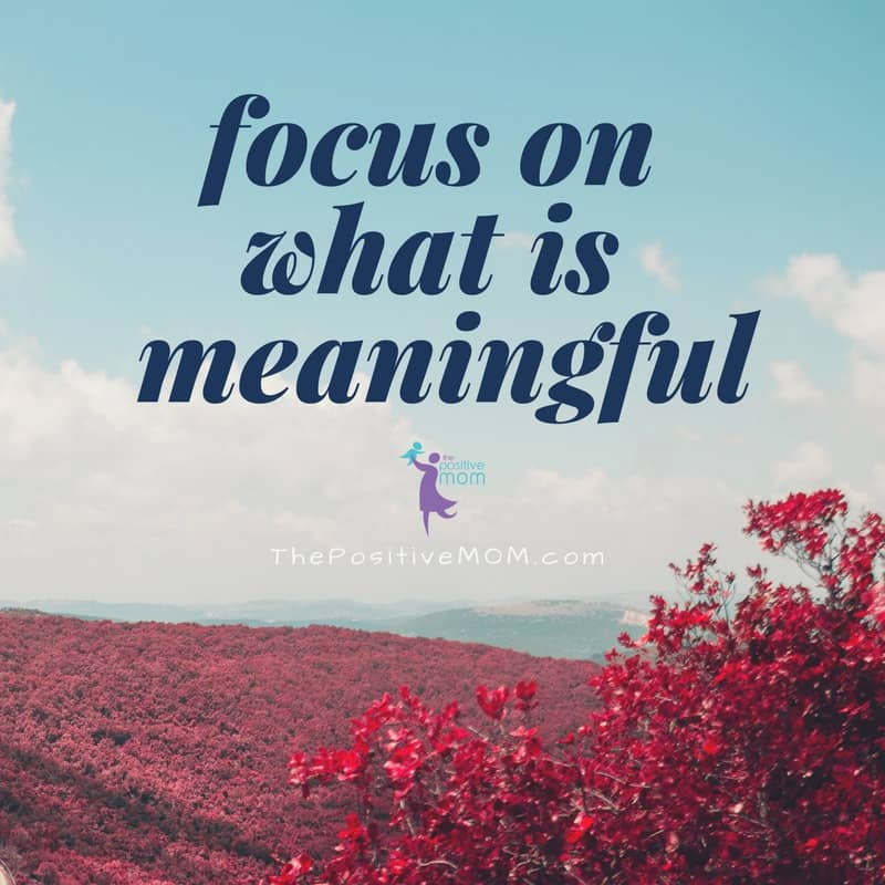 Focus on what is meaningful   Elayna Fernandez ~ The Positive MOM