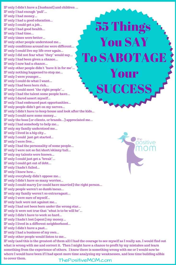 55 alibis or things you say to sabotage your success and your relationships
