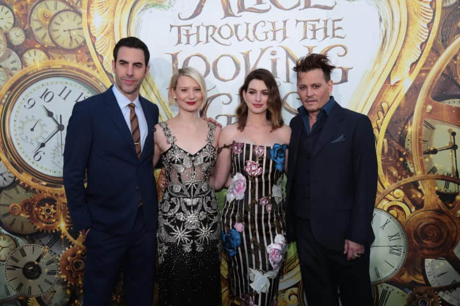 "Sacha Baron Cohen, Mia Wasikowska, Anne Hathaway and Johnny Depp pose together at The US Premiere of Disney's ""Alice Through the Looking Glass"" at the El Capitan Theater in Los Angeles, CA on Monday, May 23, 2016. .(Photo: Alex J."
