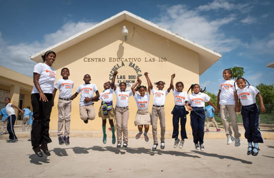 Former sponsored child Sucra Cuevas Trinidad, 33, is a 5th grade teacher who leads a workshop helping children talk through problems, express themselves, and identify when to seek help. Enriquillo ADP