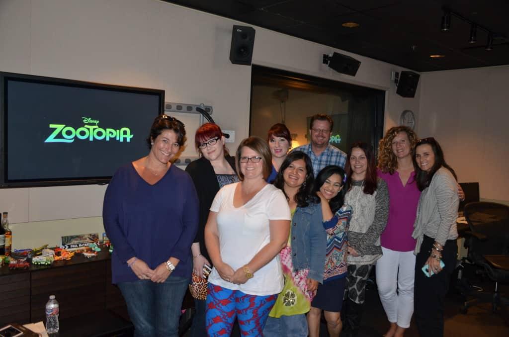 Zootopia bloggers with Paul McGrath - Disney Toon Studios Dialogue Mixer