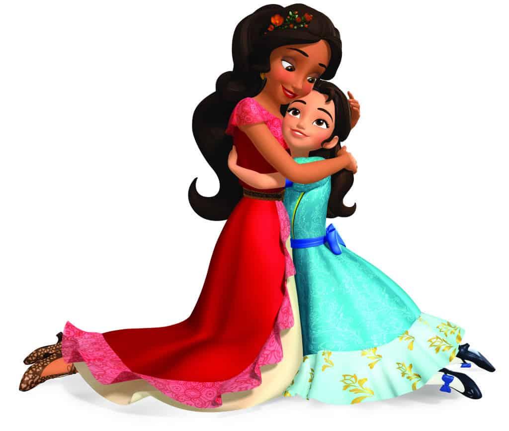 Elena of Avalor hugging her sister Isabel