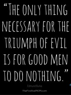 """The only thing necessary for the triumph of evil is for good men to do nothing."