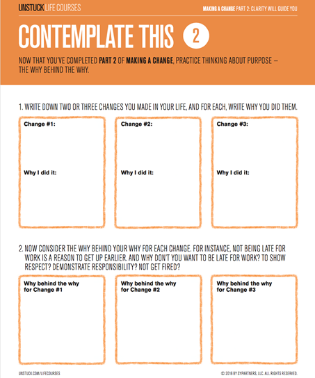 Getting clear about your change - Unstuck Life Courses worksheet