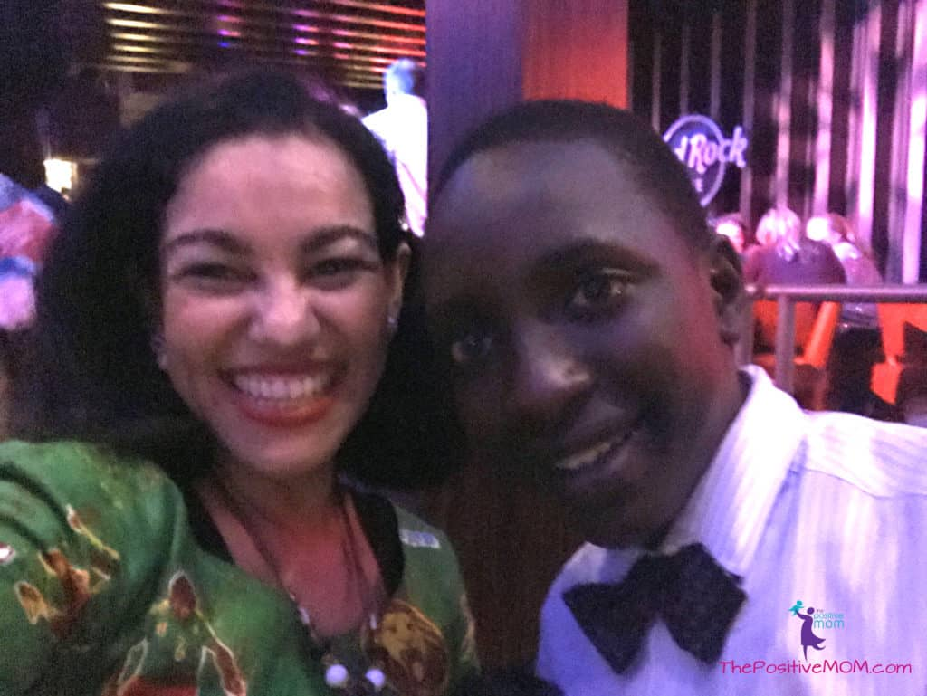 Martin Kabanza and Elayna Fernandez ~ The Positive MOM - at the Queen Of Katwe after party at Hard Rock Cafe Hollywood Blvd.