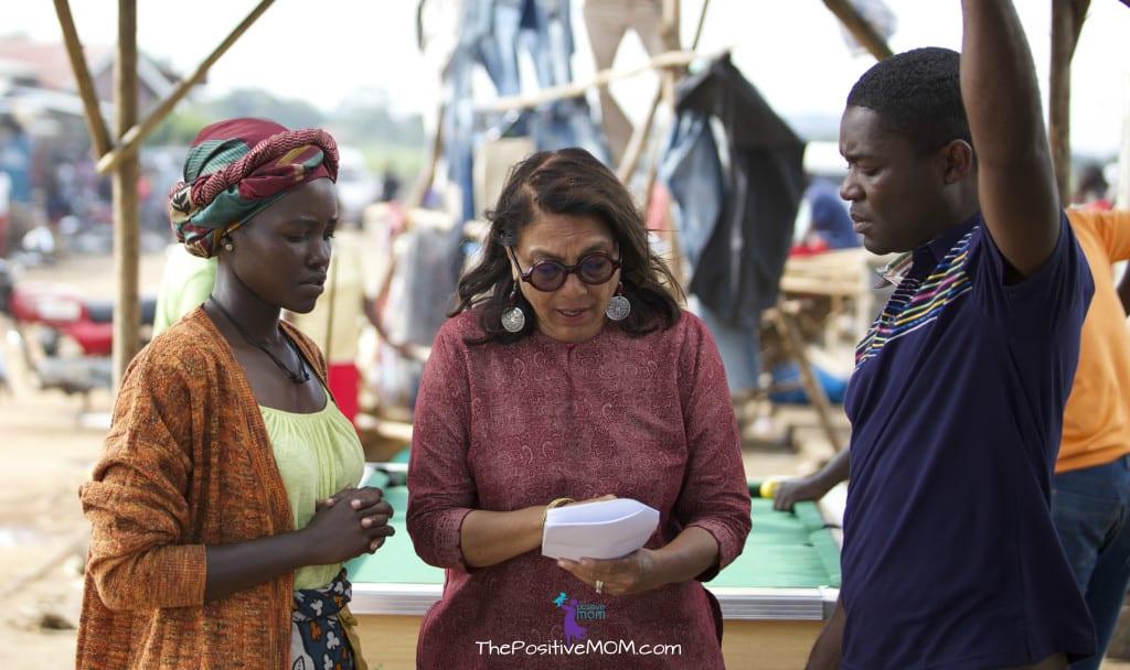 Disney's Queen Of Katwe behind the scenes - Director Mira Nair with David Oyelowo and Lupita Nyong'o