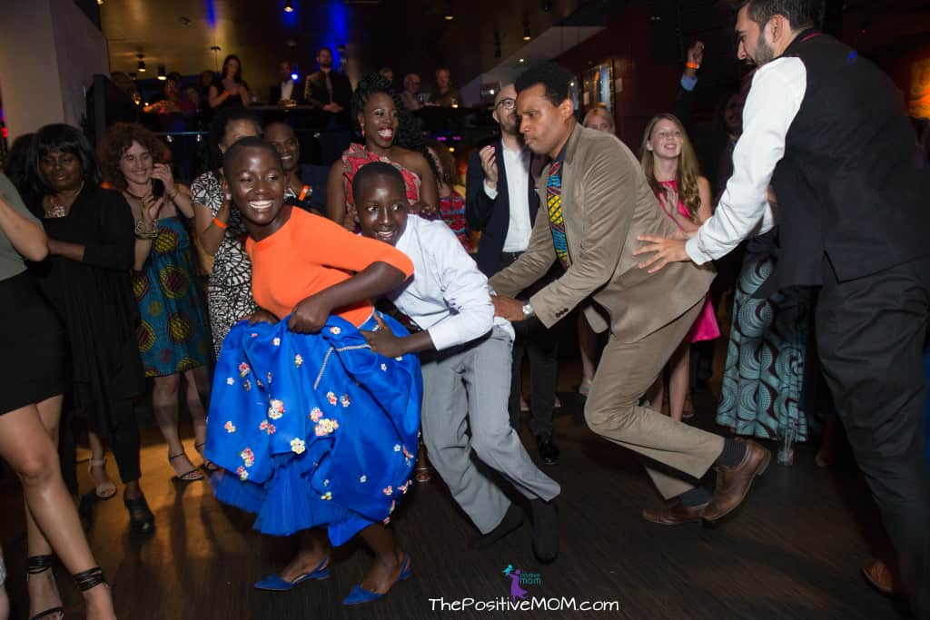 Dancing with the stars of Queen Of Katwe at the movie premier after party at the Hard Rock Cafe on Hollywood Boulevard