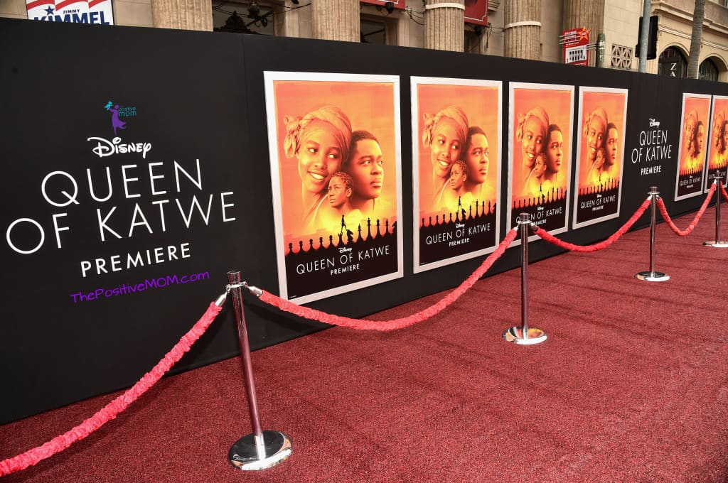 Queen Of Katwe red carpet - maroon carpet on Hollywood Boulevard