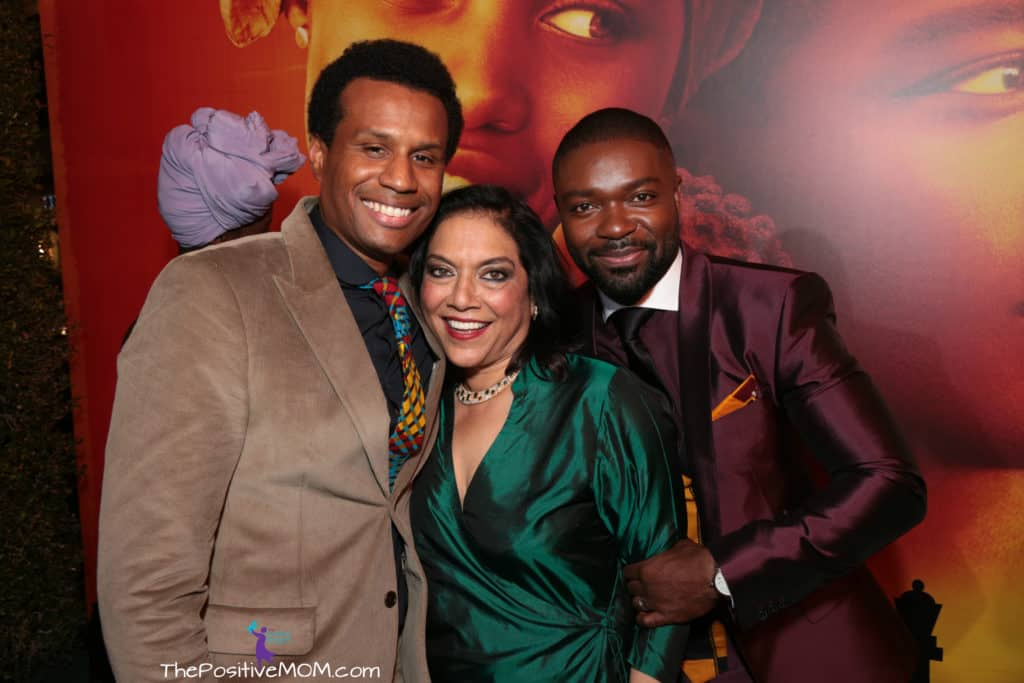 Filmmakers Tendo Nagenda and Mira Nair with actor David Oyelowo at the Queen Of Katwe movie premiere