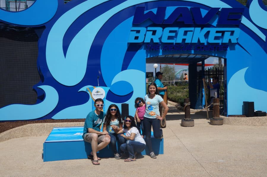 The Positive Mom family at the Wave Breaker: the Rescue Coaster at SeaWorld San Antonio in Texas