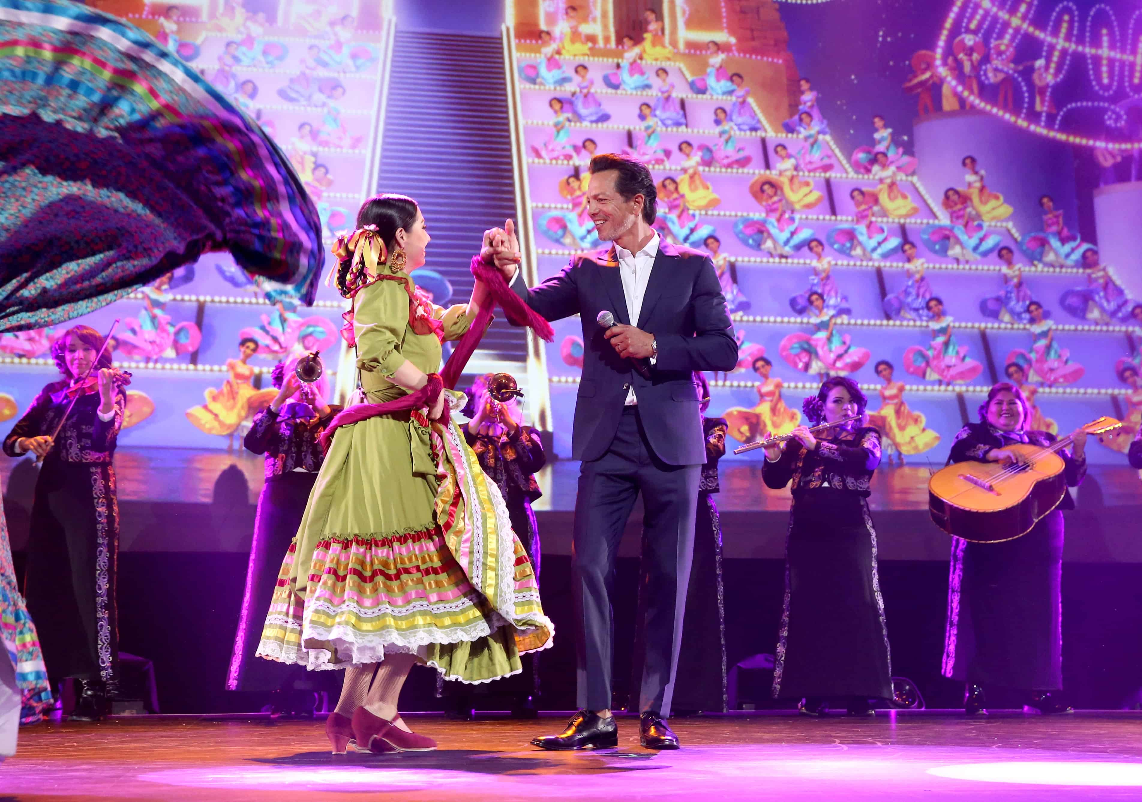 ANAHEIM, CA - JULY 14: Dancer Kareli Montoya (L) and actor Benjamin Bratt of COCO took part today in the Walt Disney Studios animation presentation at Disney's D23 EXPO 2017 in Anaheim, Calif. COCO will be released in U.S. theaters on November 22, 2017. (Photo by Jesse Grant/Getty Images for Disney) *** Local Caption *** Kareli Montoya; Benjamin Bratt