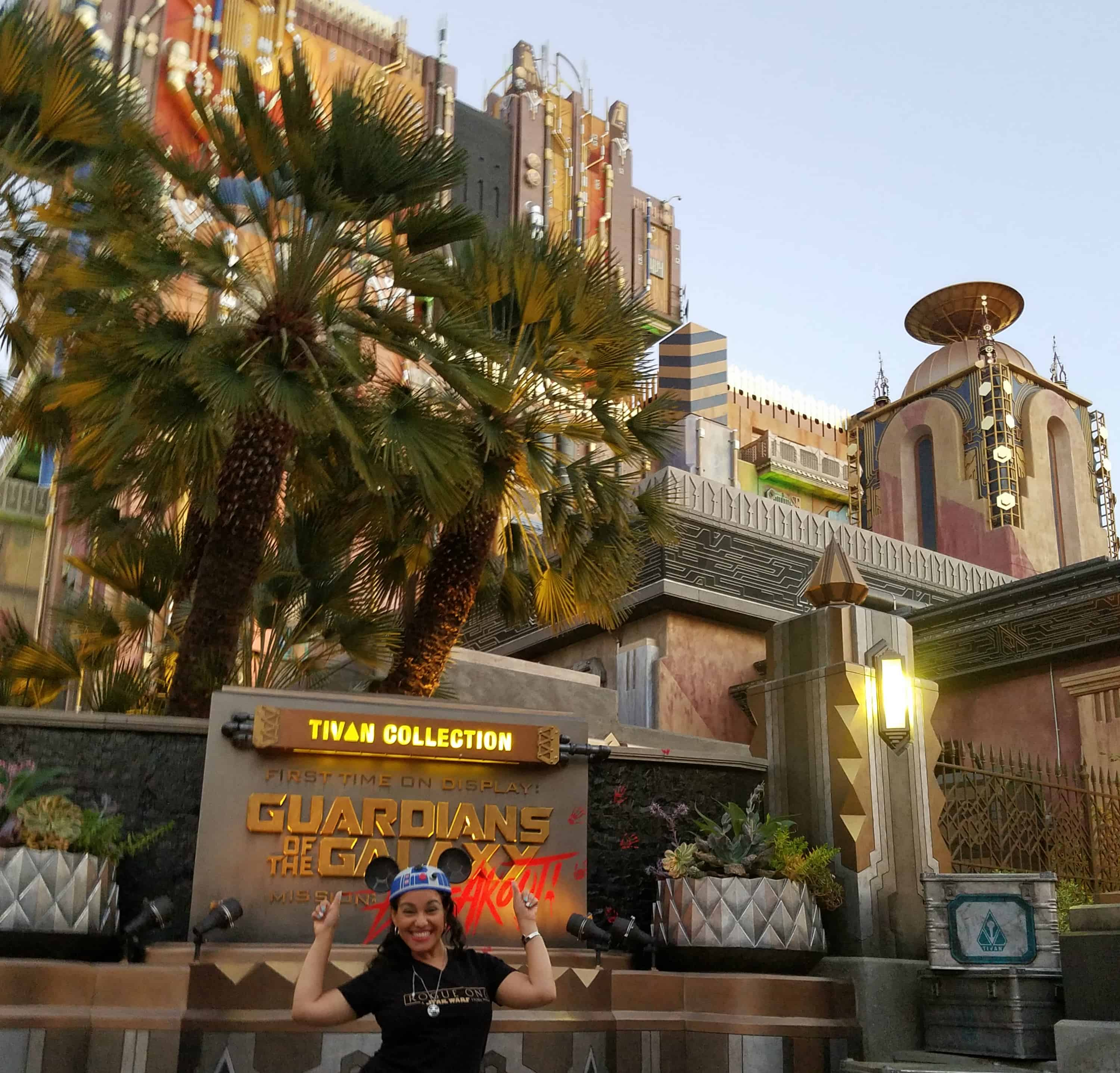 While at D23 Expo - Disneyland and Disney California Adventure - Guardians of the Galaxy: Mission Breakout Elayna Fernandez