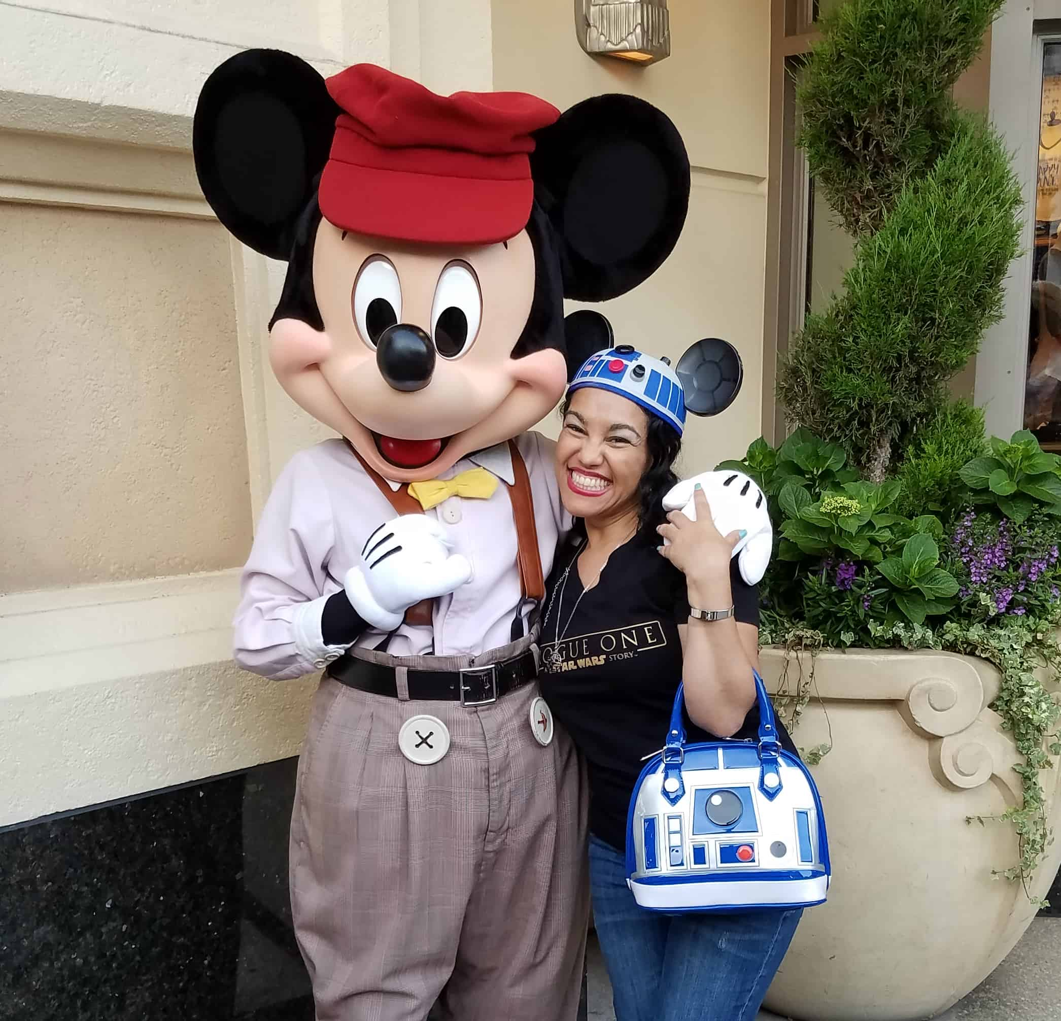 While at D23 Expo - Disneyland and Disney California Adventure - Mickey Mouse and Elayna Fernandez