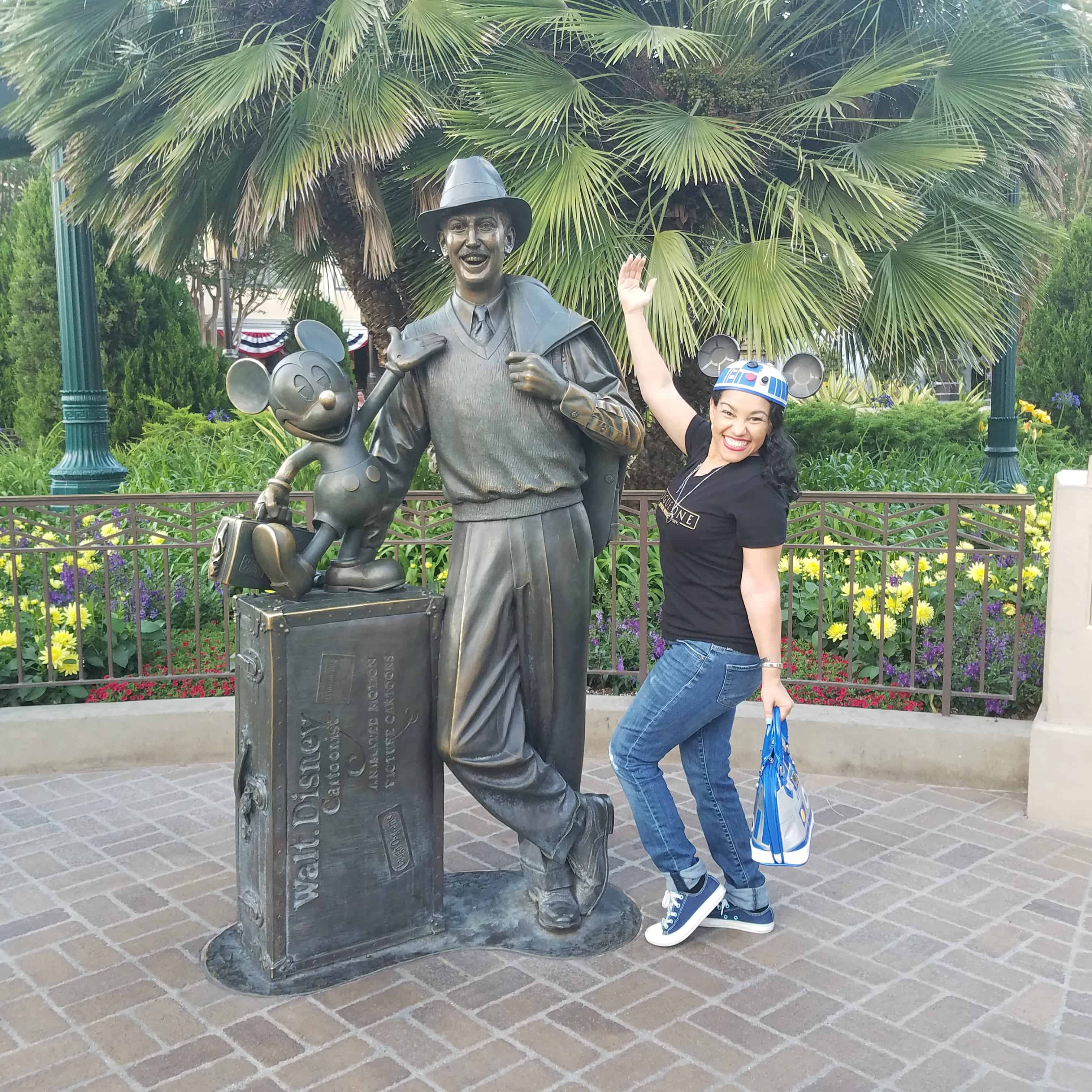 While at D23 Expo - Disneyland and Disney California Adventure - Walt Disney and Elayna Fernandez