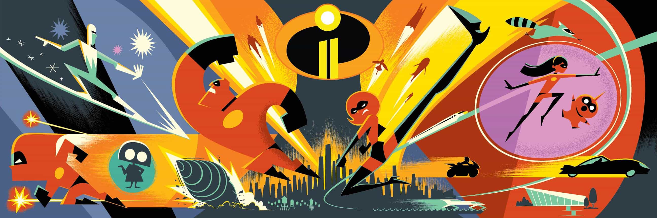 """THAT'S INCREDIBLE -- In """"Incredibles 2,"""" Helen is in the spotlight, while Bob is at home with Violet, Dash and baby Jack-Jack, whose superpowers are still under wraps. When a new villain hatches a brilliant and dangerous plot, the family and Frozone team up to do what they do best. Featuring the voices of Holly Hunter, Craig T. Nelson, Sarah Vowell, Huck Milner and Samuel L. Jackson, Disney•Pixar's """"Incredibles 2"""" opens in theaters on June 15, 2018.  (Concept Art) © 2017 Disney•Pixar. All Rights Reserved."""