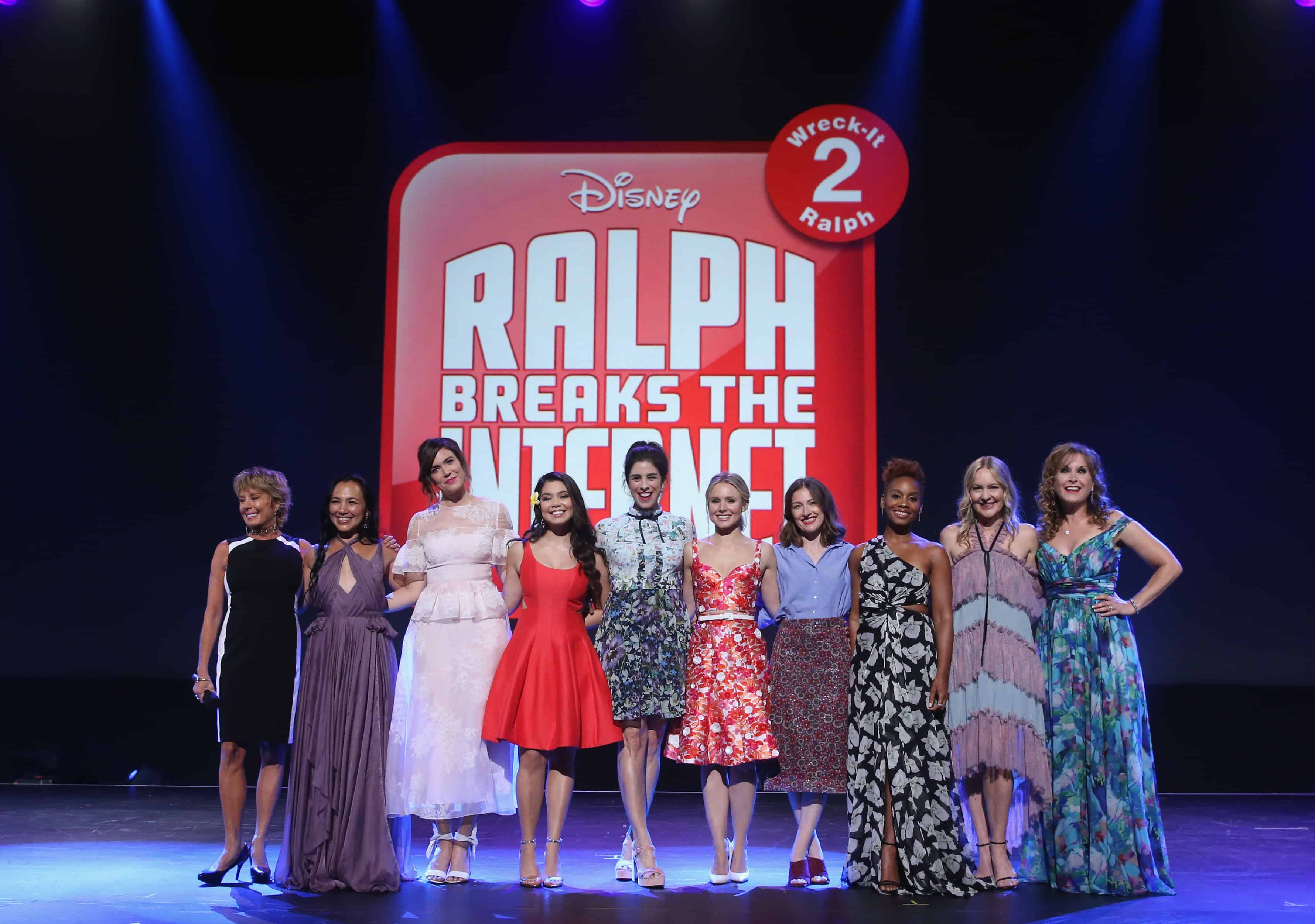 ANAHEIM, CA - JULY 14:  (L-R) Actors Paige O'Hara (Belle/BEAUTY AND THE BEAST), Irene Bedard (POCAHONTAS), Mandy Moore (Rapunzel/TANGLED), Auli'i Cravalho (MOANA), Sarah Silverman (Vanellope von Schweetz/RALPH BREAKS THE INTERNET: WRECK-IT RALPH 2), Kristen Bell (Anna/FROZEN), Kelly Macdonald (Merida/BRAVE), Anika Noni Rose (Tiana/THE PRINCESS AND THE FROG), Linda Larkin (Jasmine/ALADDIN), and Jodi Benson (Ariel/THE LITTLE MERMAID) of RALPH BREAKS THE INTERNET: WRECK-IT RALPH 2 took part today in the Walt Disney Studios animation presentation at Disney's D23 EXPO 2017 in Anaheim, Calif. RALPH BREAKS THE INTERNET: WRECK-IT RALPH 2 will be released in U.S. theaters on November 21, 2018(Photo by Jesse Grant/Getty Images for Disney) *** Local Caption *** Paige O'Hara; Irene Bedard; Mandy Moore; Auli'i Cravalho; Sarah Silverman; Kristen Bell; Kelly Macdonald; Anika Noni Rose; Linda Larkin; Jodi Benson