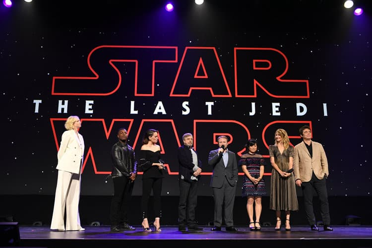 D23 EXPO 2017 - Saturday, July 15, 2017 - The Ultimate Disney Fan Event - brings together all the worlds of Disney under one roof for three packed days of presentations, pavilions, experiences, concerts, sneak peeks, shopping, and more. The event, which takes place July 14-16 at the Anaheim Convention Center, provides fans with unprecedented access to Disney films, television, games, theme parks, and celebrities. (Disney/Image Group LA) GWENDOLINE CHRISTIE, JOHN BOYEGA, DAISY RIDLEY, MARK HAMILL, RIAN JOHNSON, KELLY MARIE TRAN, LAURA DERN, BENICIO DEL TORO