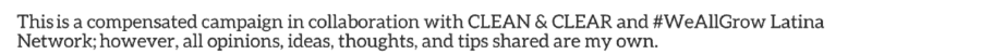 Clean and Clear disclosure