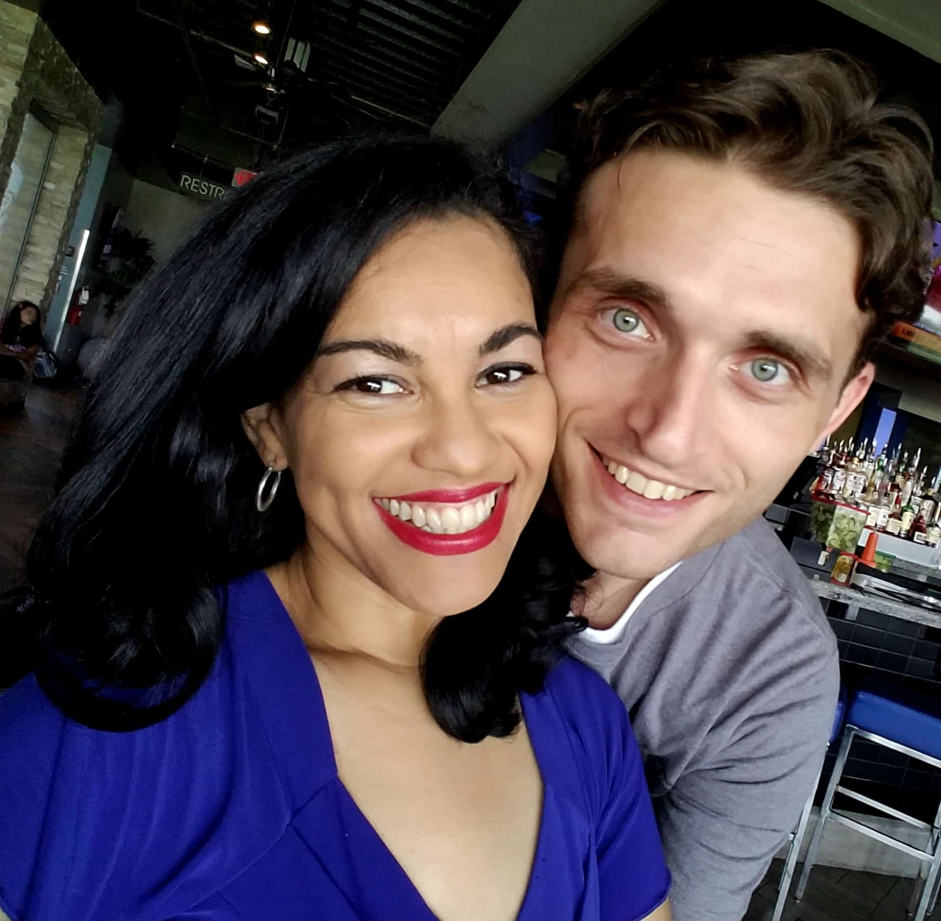 Latina blogger Elayna Fernandez [ known as The Positive MOM ] and husband Taylor Bare at Hispanicize Texas in Houston