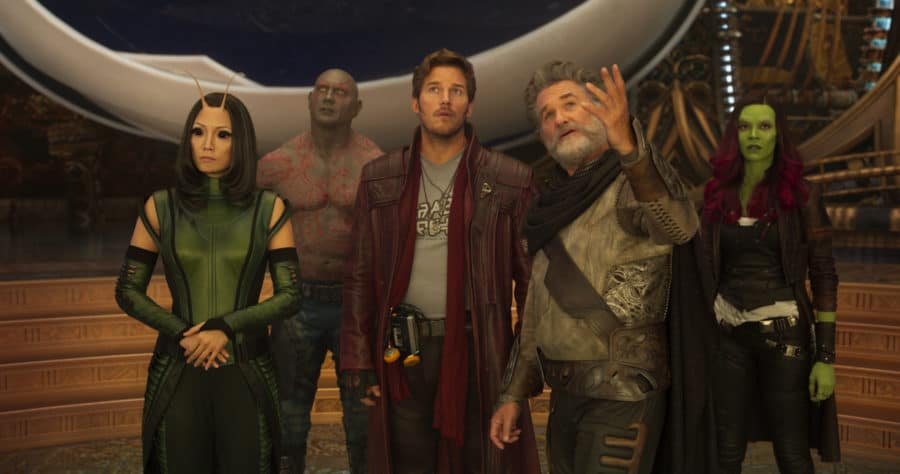 Guardians Of The Galaxy Vol. 2..L to R: Mantis (Pom Klementieff), Drax (Dave Bautista), Star-Lord/Peter Quill (Chris Pratt), Ego (Kurt Russell) and Gamora (Zoe Saldana)..Ph: Film Frame..©Marvel Studios 2017