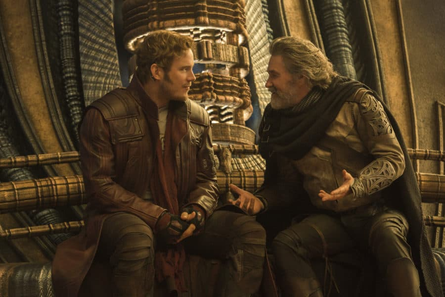 Guardians Of The Galaxy Vol. 2..L to R: Star-Lord/Peter Quill (Chris Pratt) and Ego (Kurt Russell)..Ph: Chuck Zlotnick..©Marvel Studios 2017