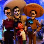 "COCO (Pictured) – IDOL CHATTER – In Disney•Pixar's ""Coco,"" aspiring musician Miguel journeys through the Land of the Dead in search of his idol, Ernesto de la Cruz. Miguel meets the popular performer at Ernesto's annual Día de Muertos party. Featuring Anthony Gonzalez as the voice of Miguel, and Benjamin Bratt as the voice of Ernesto de la Cruz, ""Coco"" opens in U.S. theaters on Nov. 22, 2017. ©2017 Disney•Pixar. All Rights Reserved."