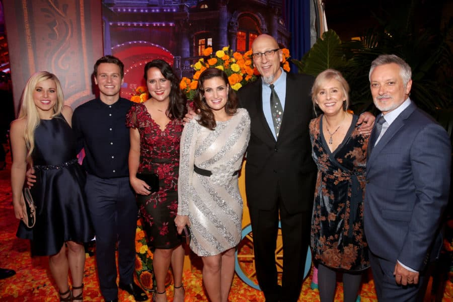 """HOLLYWOOD, CA - NOVEMBER 08:  (L-R)  Songwriter Elyssa Samsel, Actor Jonathan Groff, Songwriter Kate Anderson, Actor Idina Menzel, Producer Roy Conli, and Directors Stevie Wermers-Skelton and Kevin Deters of """"Olaf's Frozen Adventure"""" at the U.S. Premiere of Disney-Pixar's """"Coco"""" at the El Capitan Theatre on November 8, 2017, in Hollywood, California. """"Olaf's Frozen Adventure"""" featurette opens in front of Disney-Pixar's original feature """"Coco"""" for a limited time.  (Photo by Jesse Grant/Getty Images for Disney) *** Local Caption *** Roy Conli; Stevie Wermers-Skelton; Kevin Deters; Elyssa Samsel; Kate Anderson; Jonathan Groff; Idina Menzel"""