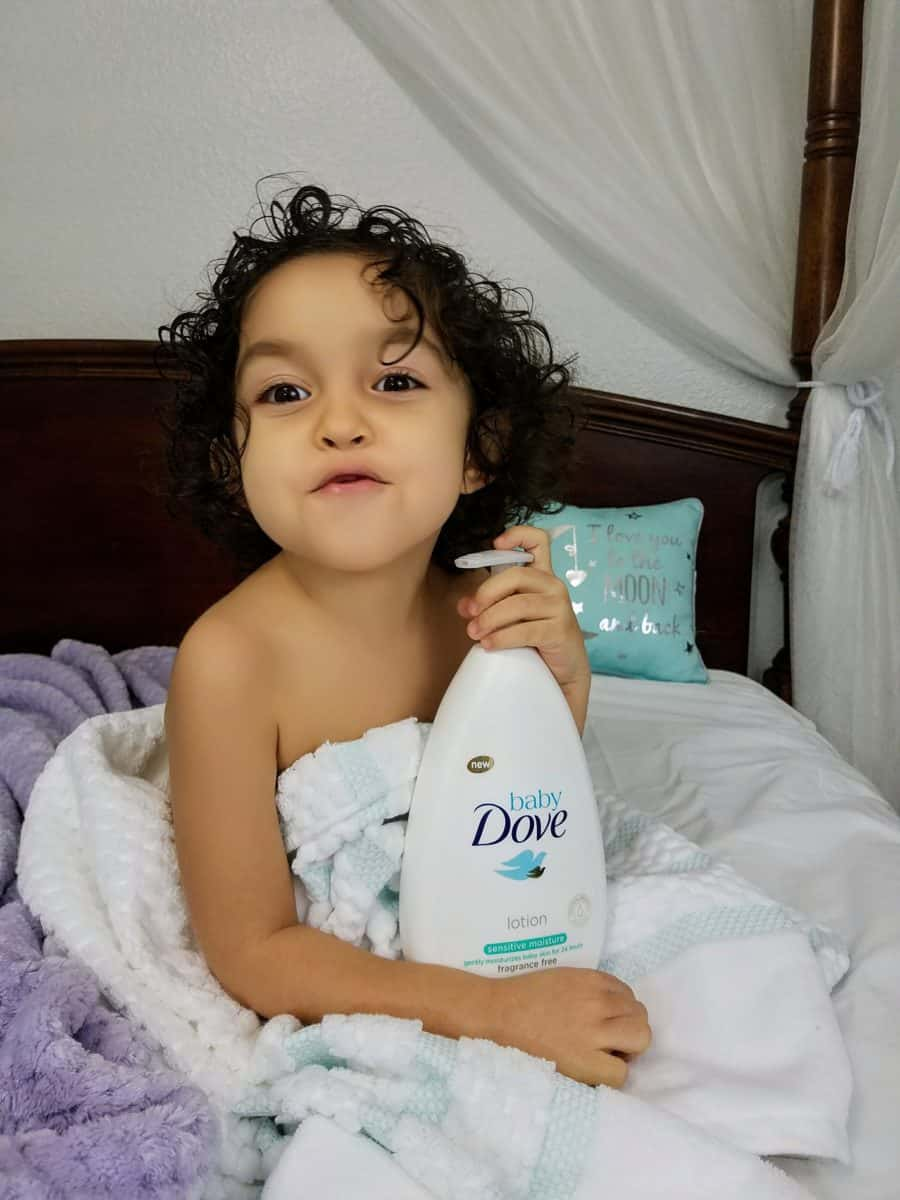 Baby Dove lotion night time massage