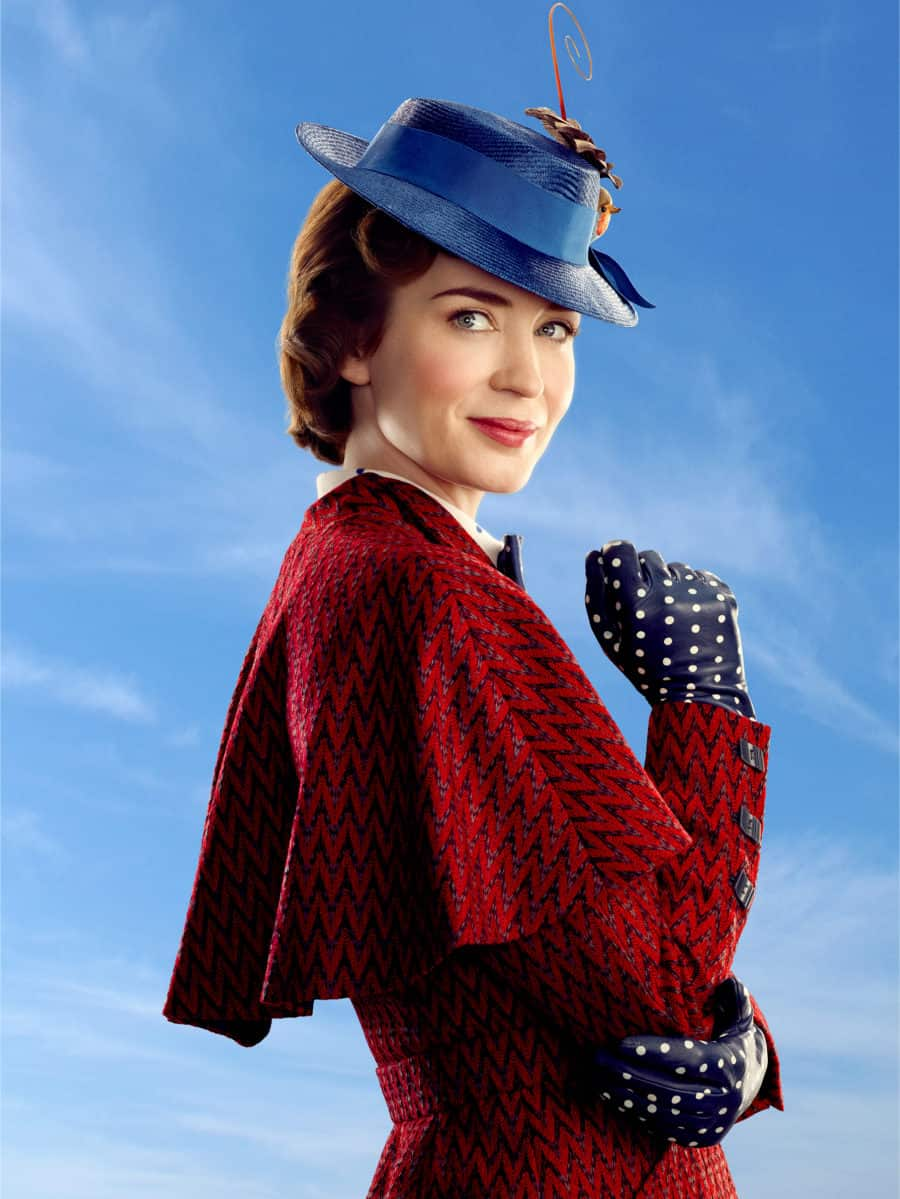 Mary Poppins (Emily Blunt) in Disney's original musical MARY POPPINS RETURNS, a sequel to the 1964 MARY POPPINS which takes audiences on an entirely new adventure with the practically perfect nanny and the Banks family.