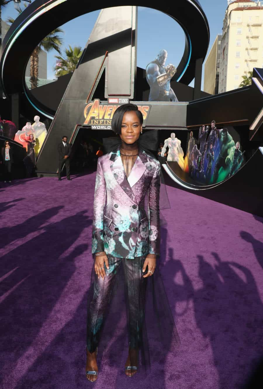 HOLLYWOOD, CA - APRIL 23:  Letitia Wright attends the Los Angeles Global Premiere for Marvel Studios' Avengers: Infinity War on April 23, 2018 in Hollywood, California.  (Photo by Rich Polk/Getty Images for Disney) *** Local Caption *** Letitia Wright