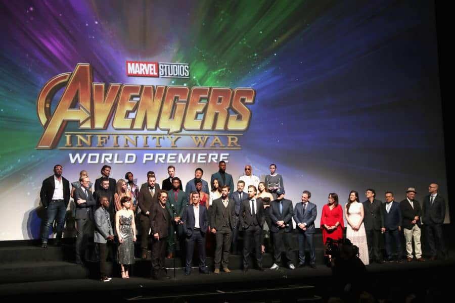 HOLLYWOOD, CA - APRIL 23:  Cast & Crew of 'Avengers: Infinity War' attend the Los Angeles Global Premiere for Marvel Studios' Avengers: Infinity War on April 23, 2018 in Hollywood, California.  (Photo by Rich Polk/Getty Images for Disney) *** Local Caption *** Robert Downey Jr.; Chris Pratt; Josh Brolin; Chris Hemsworth; Scarlett Johansson; Benedict Cumberbatch; Tom Holland; Elizabeth Olsen; Zoe Saldana; Karen Gillan; Mark Ruffalo; Vin Diesel; Dave Bautista; Paul Bettany; Sebastian Stan; Benedict Wong; Pom Klementieff; Terry Notary; Chadwick Boseman; Bradley Cooper; Paul Rudd; Letitia Wright; Gwyneth Paltrow