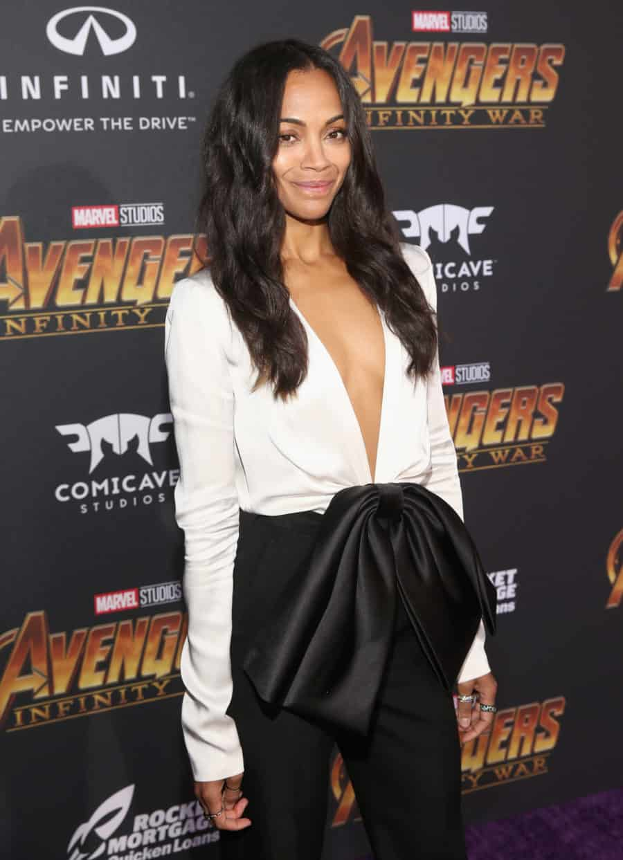 HOLLYWOOD, CA - APRIL 23:  Actor Zoe Saldana attends the Los Angeles Global Premiere for Marvel Studios' Avengers: Infinity War on April 23, 2018 in Hollywood, California.  (Photo by Jesse Grant/Getty Images for Disney) *** Local Caption *** Zoe Saldana