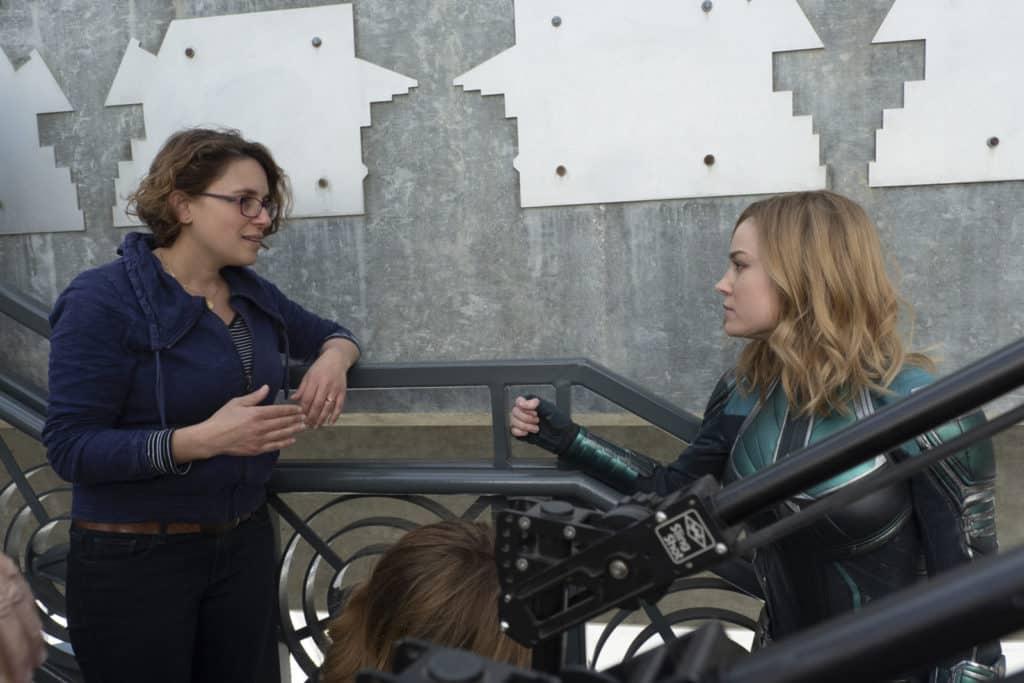 Marvel Studios' CAPTAIN MARVEL..L to R: Director Anna Boden and Brie Larson (Captain Marvel) on set...Photo: Chuck Zlotnick..©Marvel Studios 2019