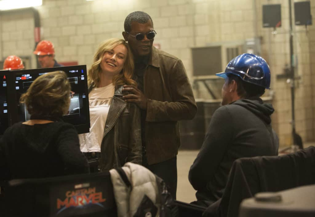 Marvel Studios' CAPTAIN MARVEL..L to R: Director Anna Boden, Brie Larson, Samuel L. Jackson, and Director Ryan Fleck..Photo: Chuck Zlotnick..©Marvel Studios 2019