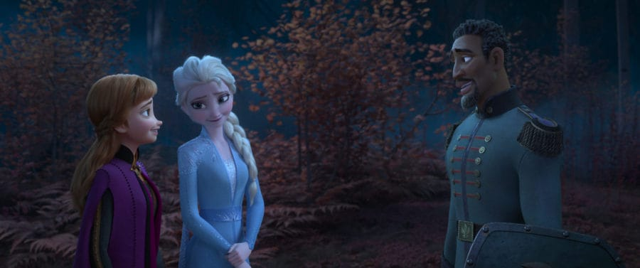 """FAMILIAR FACE -- In Walt Disney Animation Studios' """"Frozen 2,"""" Anna (voice of Kristen Bell) and Elsa (voice of Idina Menzel) meet Lieutenant Destin Mattias in the enchanted forest. They recognize him from portraits in their castle as one of their father's protectors from long ago. """"Frozen 2"""" opens in U.S. theaters on Nov. 22, 2019. © 2019 Disney. All Rights Reserved."""
