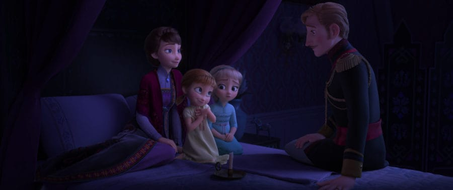 """EPIC STORY – In Walt Disney Animation Studios' """"Frozen 2,"""" Queen Iduna (voice of Evan Rachel Wood) and King Agnarr (voice of Alfred Molina) share an epic story with Young Anna (voice of Hadley Gannaway) and Young Elsa (voice Mattea Conforti) about an enchanted forest and the potential danger that lingers. """"Frozen 2"""" opens in U.S. theaters on Nov. 22, 2019. © 2019 Disney. All Rights Reserved."""