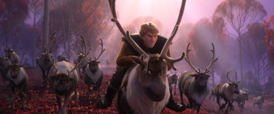 """REINDEER GAMES -- – In Walt Disney Animation Studios' """"Frozen 2,"""" Kristoff and Sven find themselves among a herd of reindeer. Featuring Jonathan Groff as the voice of Kristoff (and Sven), """"Frozen 2"""" opens in U.S. theaters on Nov. 22, 2019. © 2019 Disney. All Rights Reserved."""
