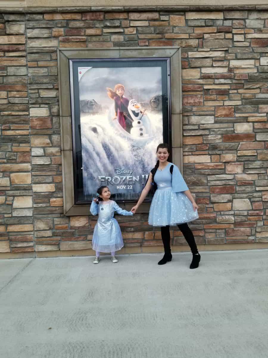 Disney Frozen family night out big Elsa small Elsa Frozen 2