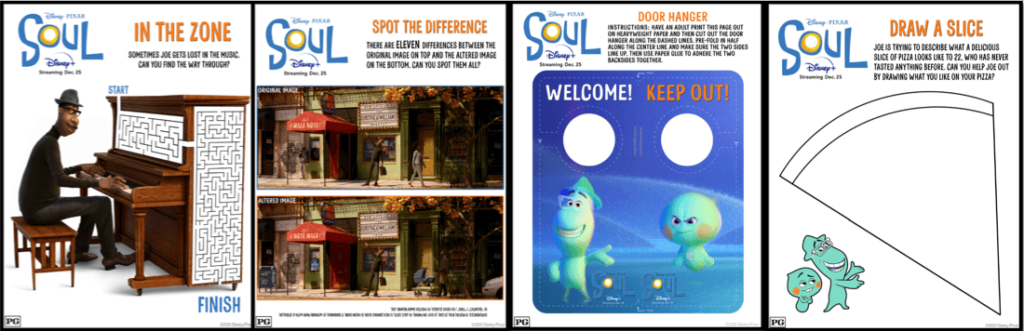 Activity Sheets for Kids From Disney Pixar SOUL
