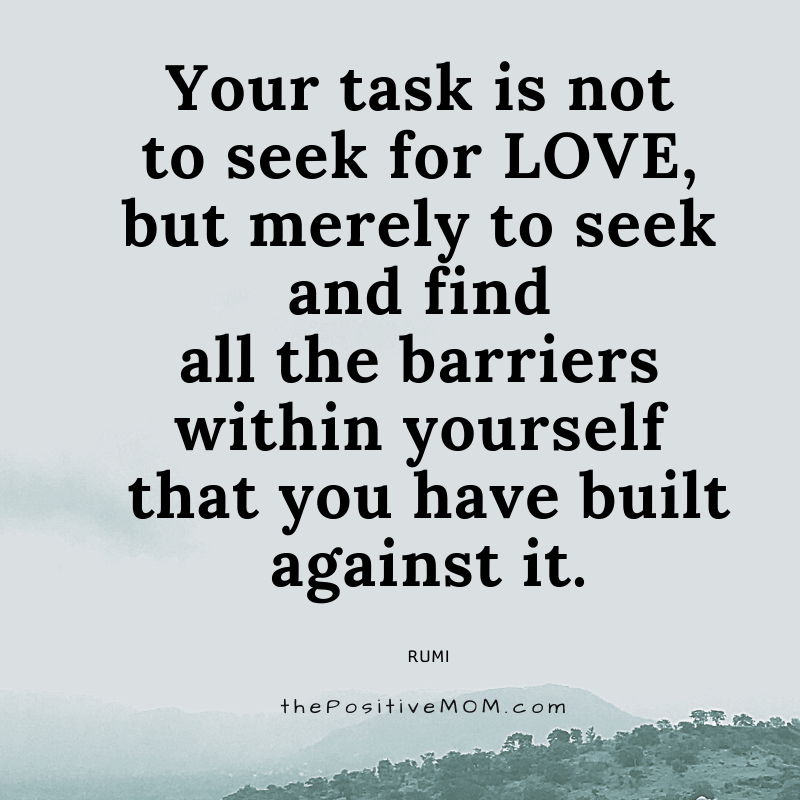 Your task is not to seek for love, but merely to seek and find all the barriers within yourself that you have built against it. ~ Rumi quote about love